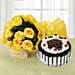 Delicious Bites & Flowers - Bunch of 10 yellow roses and 500 grams of black forest cake.