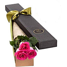 3 Pink Roses in Gift Box: Rose Day Gift Delivery in Australia