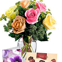 6 Mixed Roses Combo: Rakhi Gift for Sister in Australia