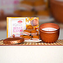 Besan Ladoo 400g With Fragrant Candle Big: Diwali Gifts to Australia