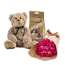 Dark Pink Roses Combo: Flowers N Chocolates to Australia
