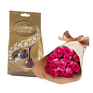 Dark Pink Roses N Chocolates: Anniversary Roses in Australia