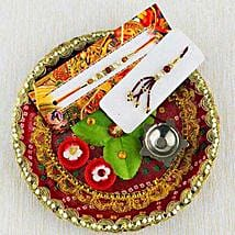 Gorgeous Rakhi Puja Thali: Send Rakhi for Bhaiya Bhabhi to Australia