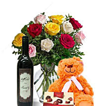 Mixed Roses Combo With Wine: Love Gifts to Australia