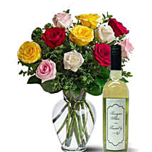 Mixed Roses With Wine: Birthday Flower Delivery in Australia