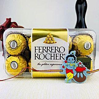 Munnaji Rakhi with Farrero Rochar: Rakhi with Chocolates to Australia