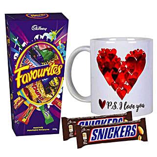 P S I Love You Mug And Chocolates Combo: Personalised Mugs Australia