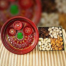 Painted Pooja Thali With Mix Dry Fruits: Diwali Gifting in Australia