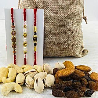 Prince Three Rakhi Set with Mix Dry Fruits: Rakhi with Dryfruits to Australia