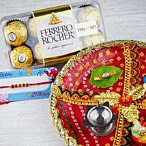 Rakhi with Fererro Rocher and Traditional Thali: