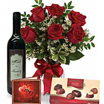 Roses Wine N Chocolate Combo: Rakhi Gifts for Sister in Australia