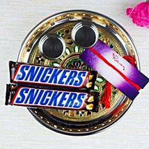 Snickers In Meenakari Thali: Bhai Dooj Gift Delivery in Australia