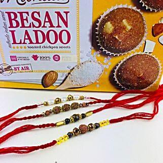 Super Four Rakhi Set With Besan Laddu: Send Rakhi to Canberra