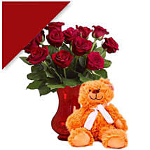 Teddy With Red Roses: Valentine's Day Rose Delivery in Australia