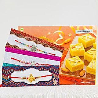 Three Rakhi With Delicious Patisa: Set of 3 Rakhis to Australia