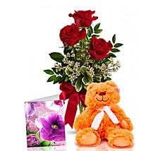 Three Red Roses With Teddy: Valentine's Day Flower Delivery in Australia