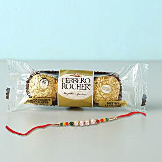 Rocher Special Beads Rakhi Combo: Rakhi With Chocolates to Bahrain