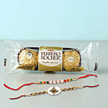 Set of 2 Fancy Rakhis With Rochers: Rakhi to Brother in Bahrain