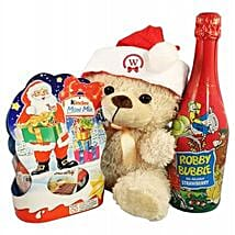 Christmas Kinder Teddy with Kids Champagne: Corporate hampers to Bulgaria