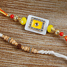 Sizzling Yellow Stone rakhi Set: Send Rakhi to Bulgaria