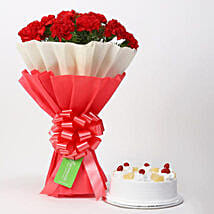 12 Red Carnations And Pineapple Cake Combo: Valentines Day Flowers Canada