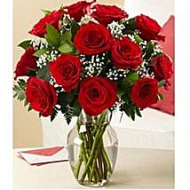 12 red roses with vase: Send Flowers to Brampton