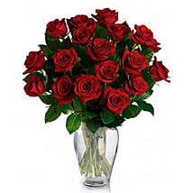 24 Red Roses in Vase: Anniversary Flowers to Canada
