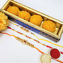 3 Rakhis And Boondi Laddu 225gms Combo: Set of 3 Rakhi in Canada