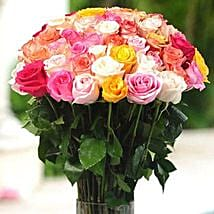 36 Multicolor roses in Vase: Women's Day Gifts to Canada