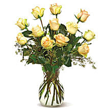 A Dozen Cream Roses-CND: Friendship Day Flowers to Canada
