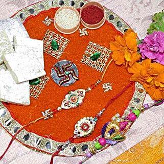 Colourful Rakhi Set Of Three Thali With 200gms Kaju Katli: Send Rakhi Pooja Thali to Canada