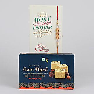 Dazzling Rakhi And Soan Papdi Combo: Rakhi and Sweets to Canada