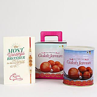 Decorated Rakhi With Gulab Jamun: Rakhi with Sweets to Canada