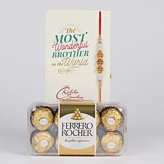 Designer Rakhi And Ferrero Rocher Combo: Rakhi with Chocolates to Canada