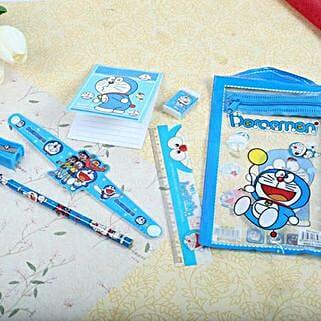 Doraemon Stationary Set Rakhi: Send Rakhi to Winnipeg