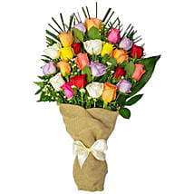 Dramatic Love Bouquet Of 24 Assorted Roses: Same Day Gifts to Canada