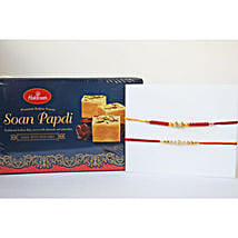 Dual Rakhi N Soan Papdi: Set of 2 Rakhi to Canada