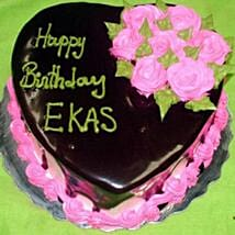 Eggless Heartshaped Chocolate Cake: Cake Delivery in Canada