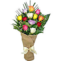 Galore Of Love Bouquet Of 12 Assorted Roses: Send Valentine's Day Roses to Canada