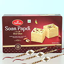 Glittering Rakhi And Soan Papdi Combo: Set of 3 Rakhi in Canada