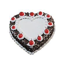 Heartshape Black Forest Cake 500GM: Valentines Day Cake Delivery in Canada