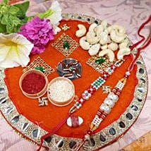 Pearl Rakhi Set Of Two Thali With Cashew: Set of 2 Rakhi Delivery in Canada