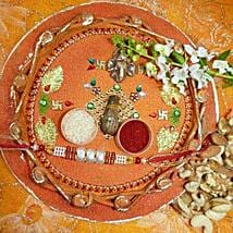 Pearl Rakhi Thali With Assorted Dry Fruits: Rakhi and Dryfruits to Canada