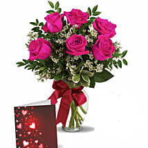 Pink Roses With Greeting: Flower Arrangements in Canada