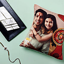 Rakhi With Cushion And Kaju Katli: Send Rakhi to Canada