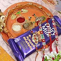 Red Beads Rakhi 4 With Dairy Milk Mixed Dry Fruits Thali: Rakhi and Dryfruits to Canada