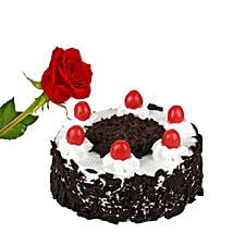 Rose N Black Forest Cake: Valentine's Day Rose Delivery in Canada