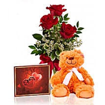 Roses N Teddy Combo: Valentine's Day Gifts to Canada