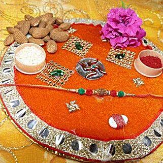 Rudraksh Rakhi Thali With Almond: Rakhi with Dryfruits to Canada