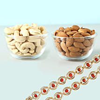 Rudraksha Rakhis And Dry Fruits Healthy Combo: Rakhi and Dryfruits to Canada